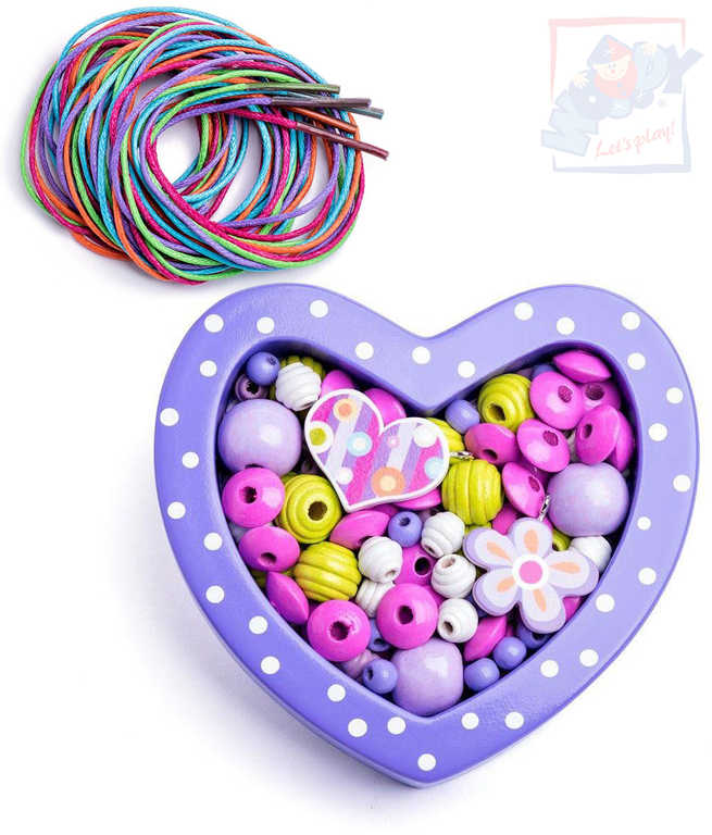 WOODY DŘEVO Korálky navlékací fialové set s barevnými tkaničkami v srdíčku