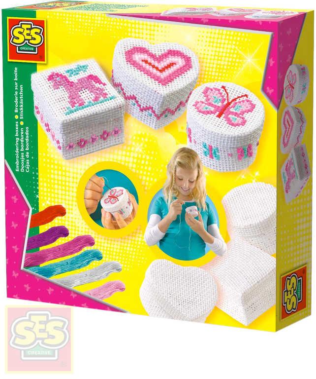 SES CREATIVE 3 Krabičky vyšívací šperkovnice set s jehlou a bavlnkami
