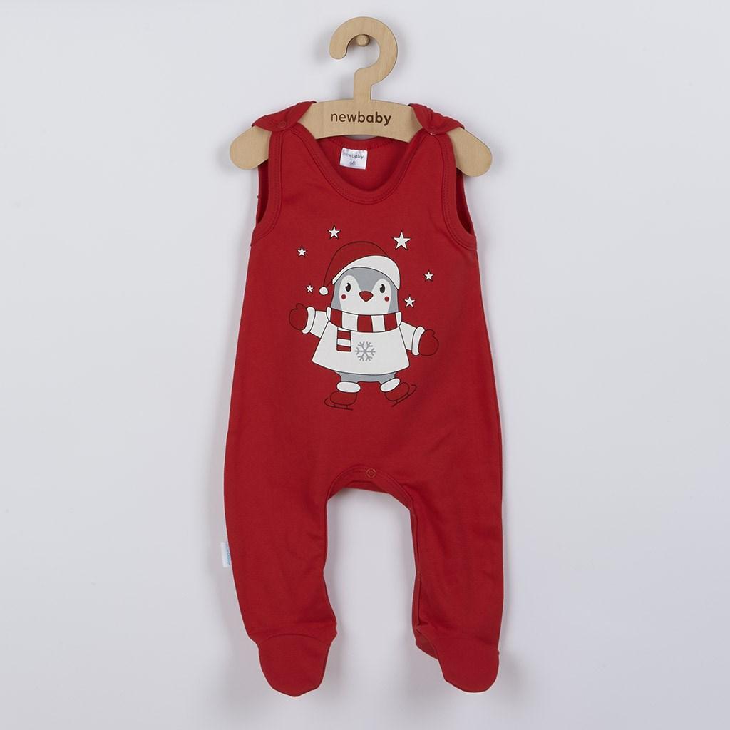 Kojenecké bavlněné dupačky New Baby Winter Penguin - červená/68 (4-6m)