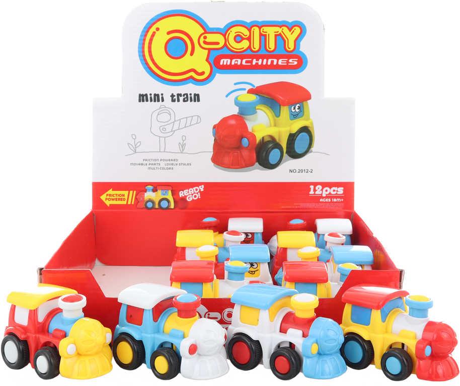 Baby mašinka s obličejem barevná 9cm lokomotiva na setrvačník 4 barvy plast