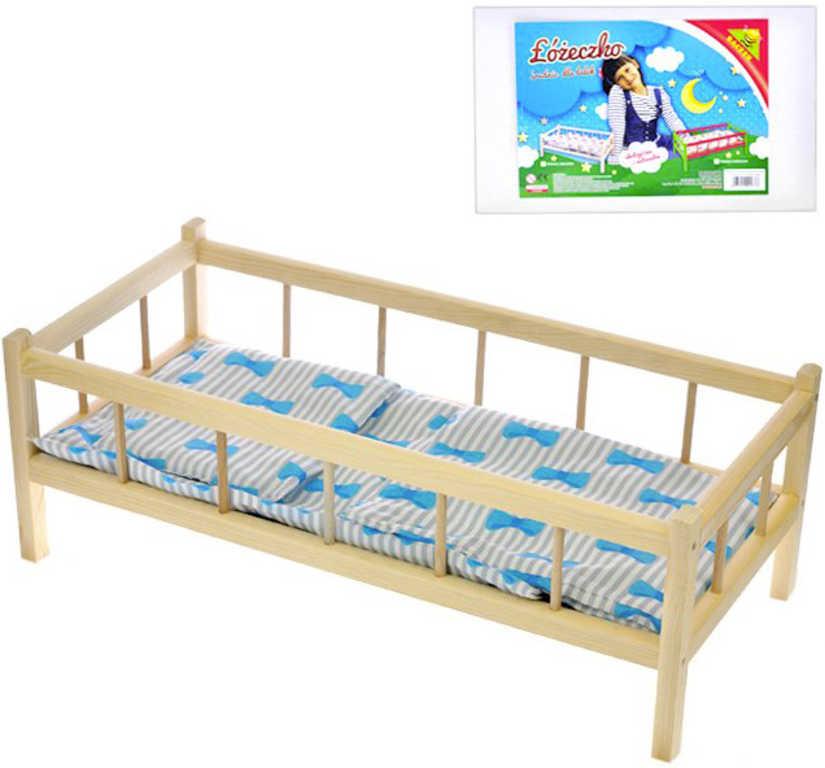 DŘEVO Postýlka pro panenku miminko 43x23x18 cm set s peřinkami