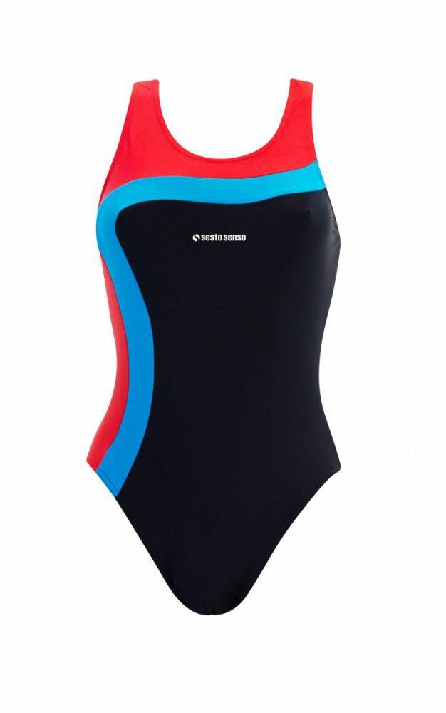 Dámské jednodílné plavky 728 - Sesto Senso - Černá-modrá-červená/XXL