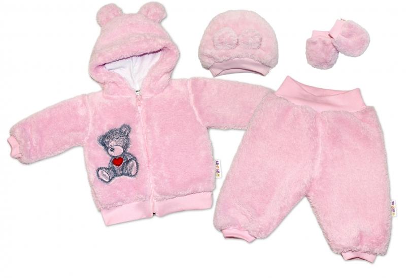 baby-nellys-chlupackovy-komplet-welsoft-teddy-ruzovy-56-1-2m