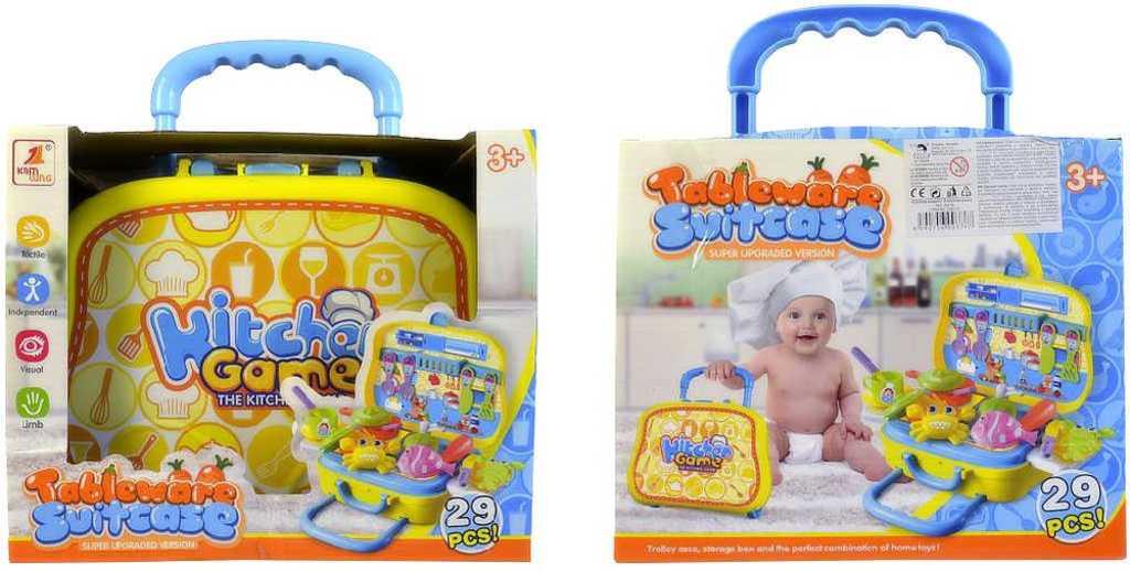 Souprava kuchyňská dětské nádobí set 29ks v kufříku 56x23cm plast