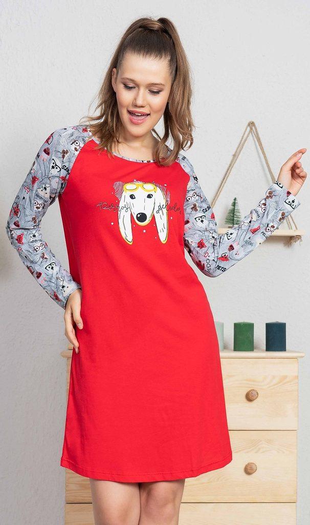 Dámská noční košile s dlouhým rukávem Pes s brýlemi - červená