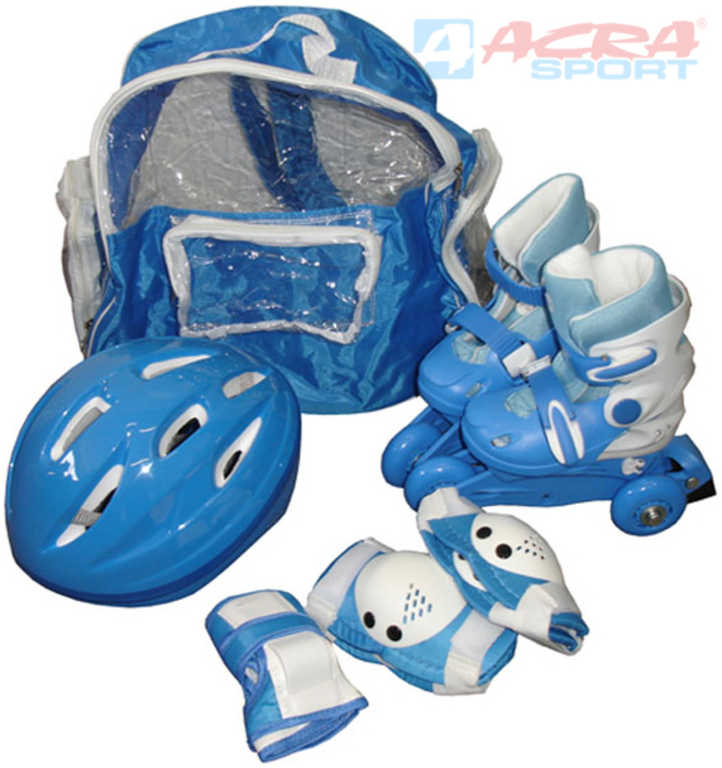 ACRA Brusle roztahovací triskate / in-line vel. 31-34 set s přilbou, batohem a chrániči
