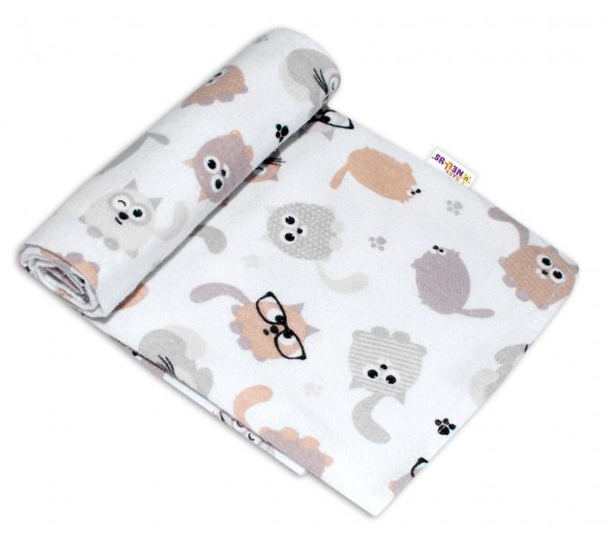 Baby Nellys Kvalitní flanelová plenka, 70x80cm - Kočičky