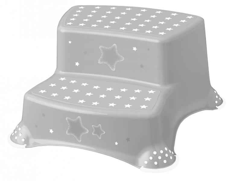 Stolička - schůdky s protiskluzem Baby Star - šedé