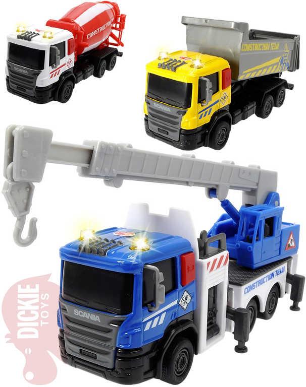 DICKIE Auto nákladní kovové Scania City Builder na baterie - 3 druhy