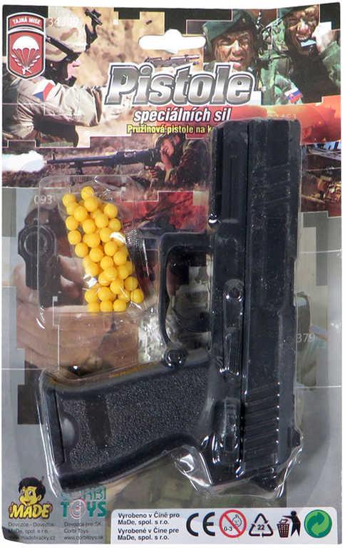 Pistole dětská pružinová kuličkovka set s náboji na kuličky na kartě plast
