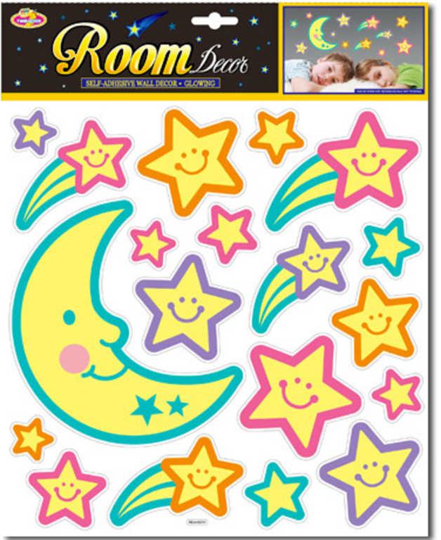 Měsíc a hvězdy nalepovací noční obloha dekorace barevná svítící ve tmě