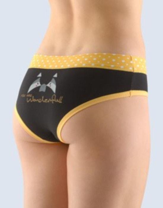 GINA dámské kalhotky francouzské, šité, bokové, s potiskem Funny 4 collection 14137P - angreštová černá