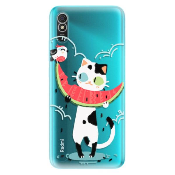Odolné silikonové pouzdro iSaprio - Cat with melon - Xiaomi Redmi 9A