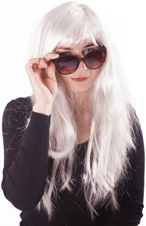 KARNEVAL Paruka stříbrná dlouhé vlasy dospělá