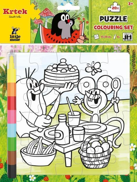 JIRI MODELS Omalovánkové puzzle set s voskovkami Krtek (Krteček)