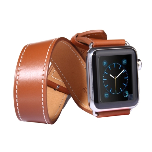 Kožený pásek / řemínek Double Circle pro Apple Watch 38mm hnědý