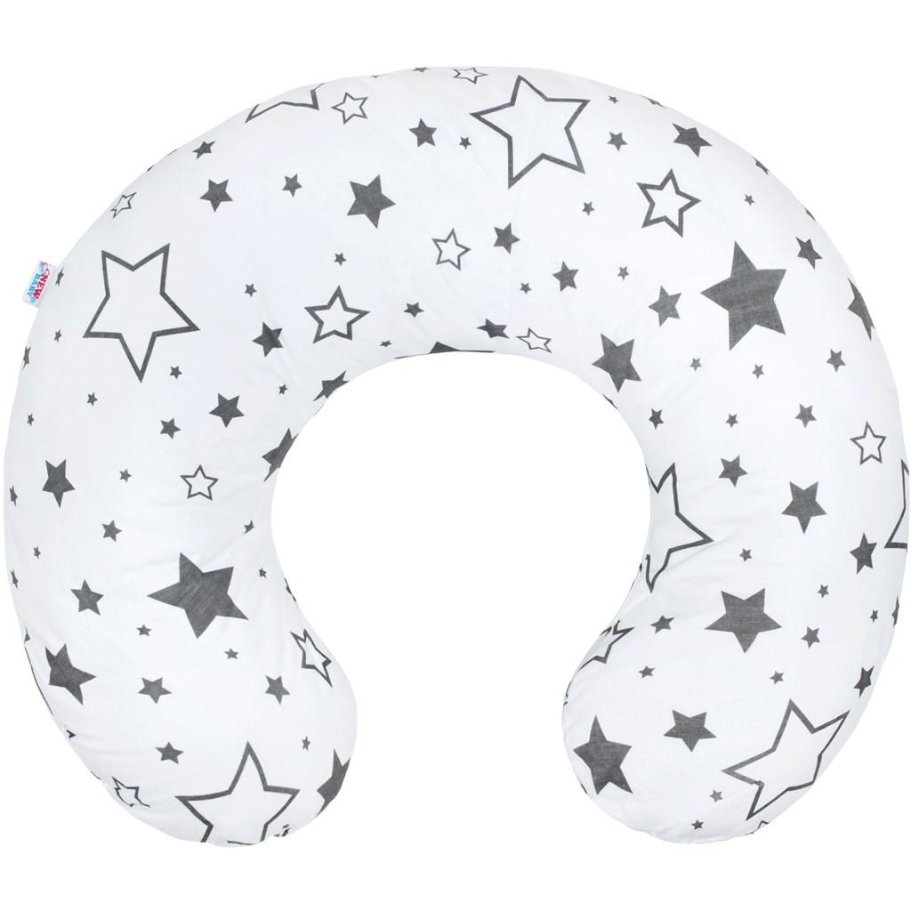 Kojící polštář New Baby - hvězdy šedé - bílá