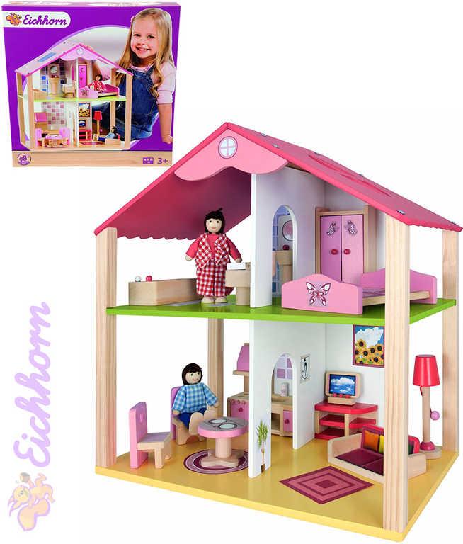 EICHHORN DŘEVO Set domeček 25x41x38cm s nábytkem + 2 panenky 27 dílků