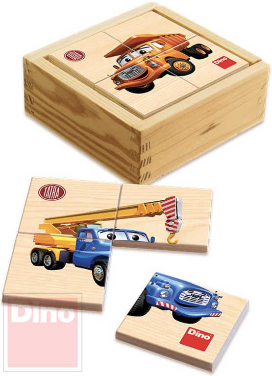 DINO DŘEVO První puzzle Tatra 6x4 dílků 9x9cm v krabičce*DŘEVĚNÉ HRAČKY*