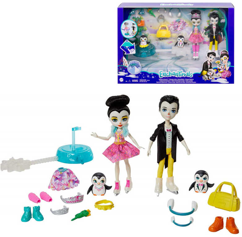 MATTEL Enchantimals na bruslích herní set 2 panenky s doplňky plast