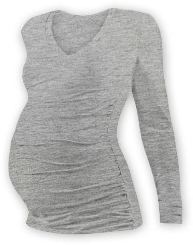 Těh. tričko dl. rukáv s výstřihem do V - šedý melír