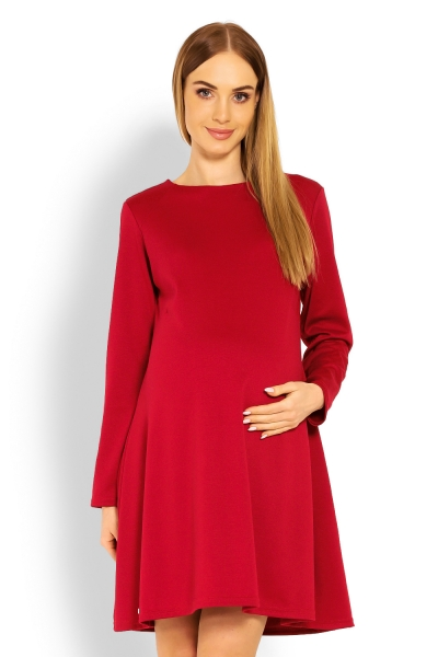 Elegantní volné těhotenské šaty dl. rukáv - bordo,červené, XXL - XXL