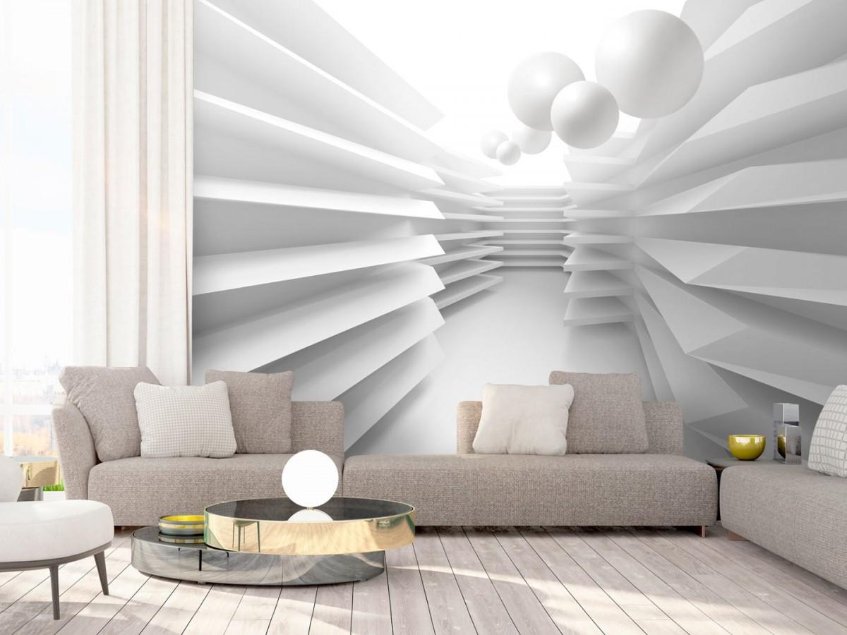 3D tapeta bílé bludiště