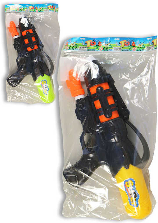 Pistole plastová vodní se zásobníkem 33cm s nádržkou na vodu 2 barvy v sáčku