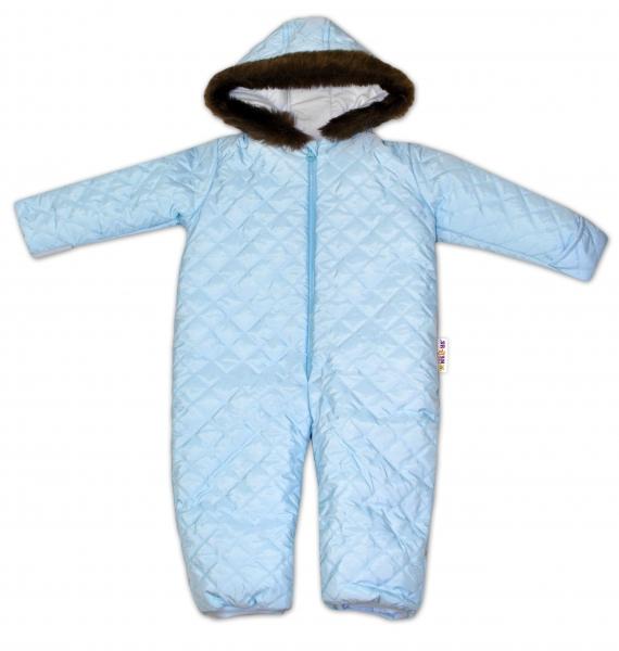 Kombinéza s kapucí a kožíškem Baby Nellys ®prošívaná, bez šlapek - sv.