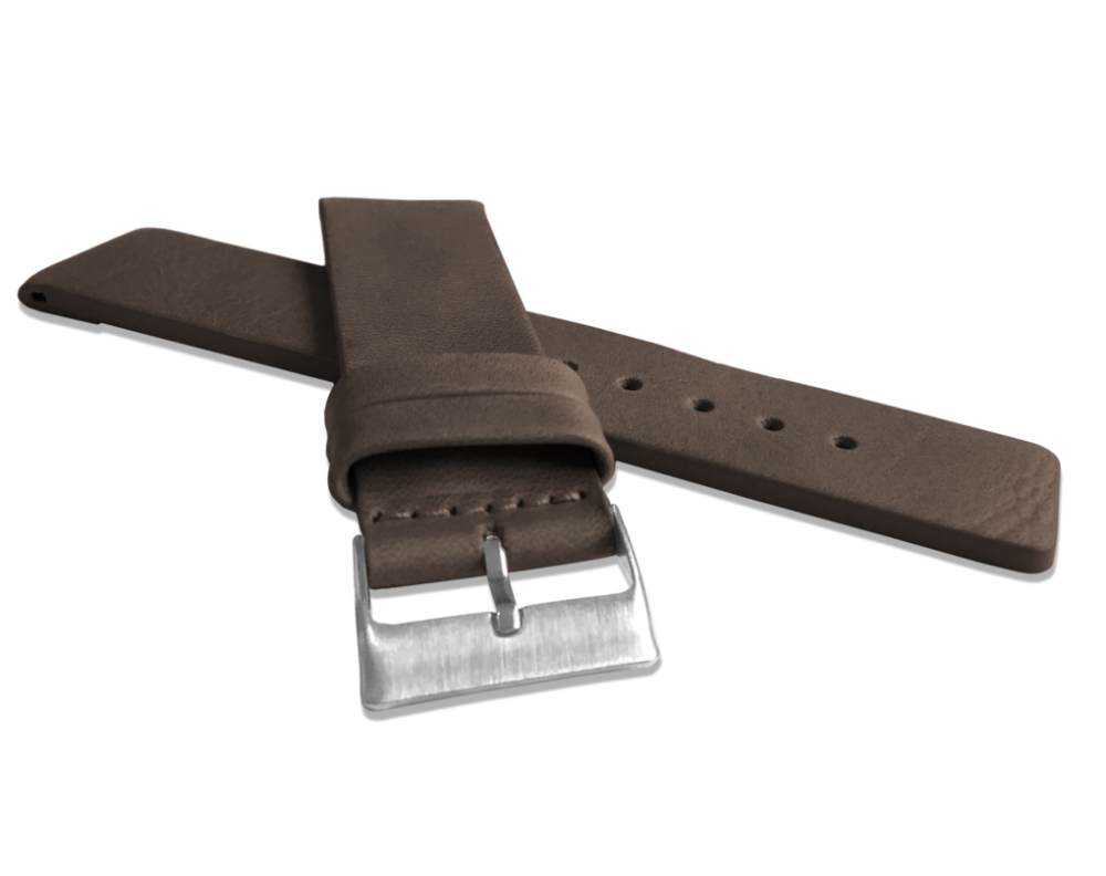 Tmavě hnědý hladký řemínek LAVVU PLAIN z luxusní kůže Top Grain - 22