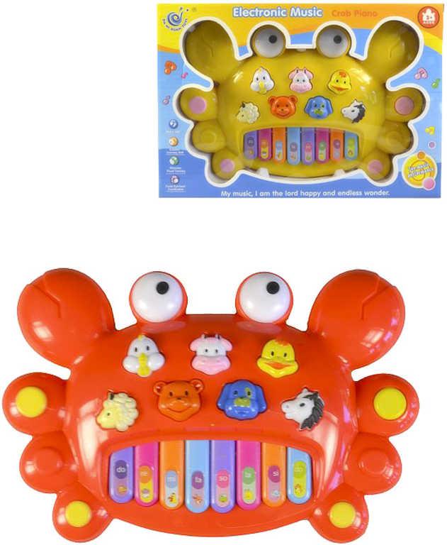 Baby pianko elektronické 28cm krab na baterie zvuky zvířat Světlo 2 barvy