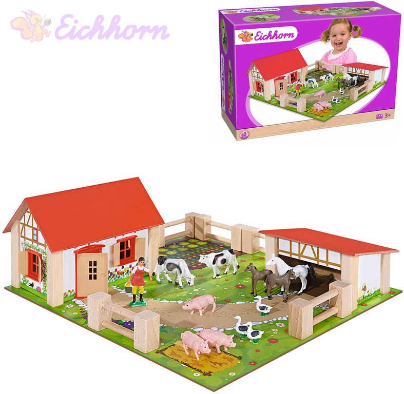 EICHHORN DŘEVO Farma herní set s figurkami a zvířátky na podložce 23 dílků