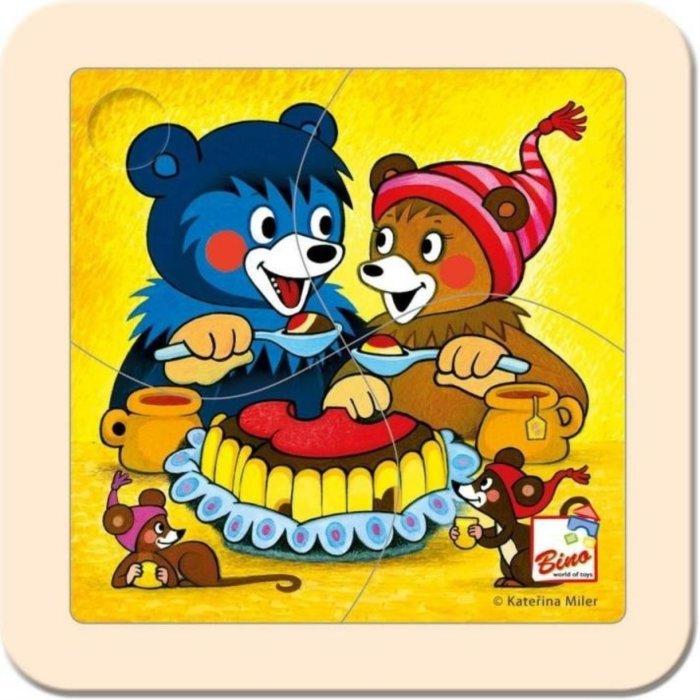 BINO DŘEVO Puzzle Baribal s dortem