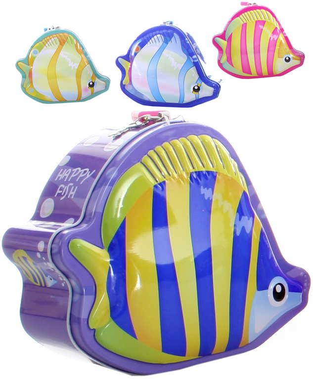 Pokladnička plechová ryba 18cm set se 2 klíčky Happy Fish 4 barvy