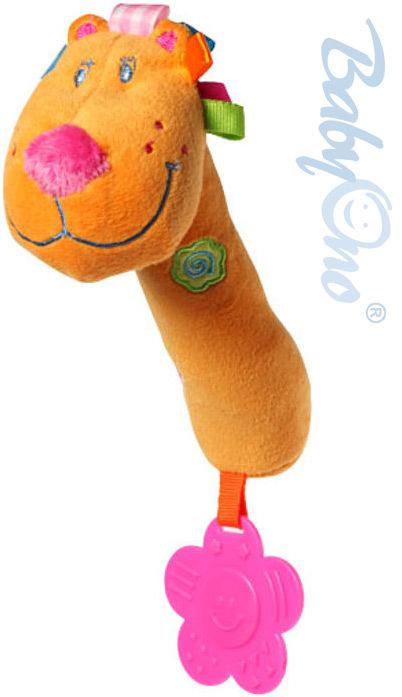BabyOno Lev pískací 20cm oranžový plyšový s kousátkem pro miminko