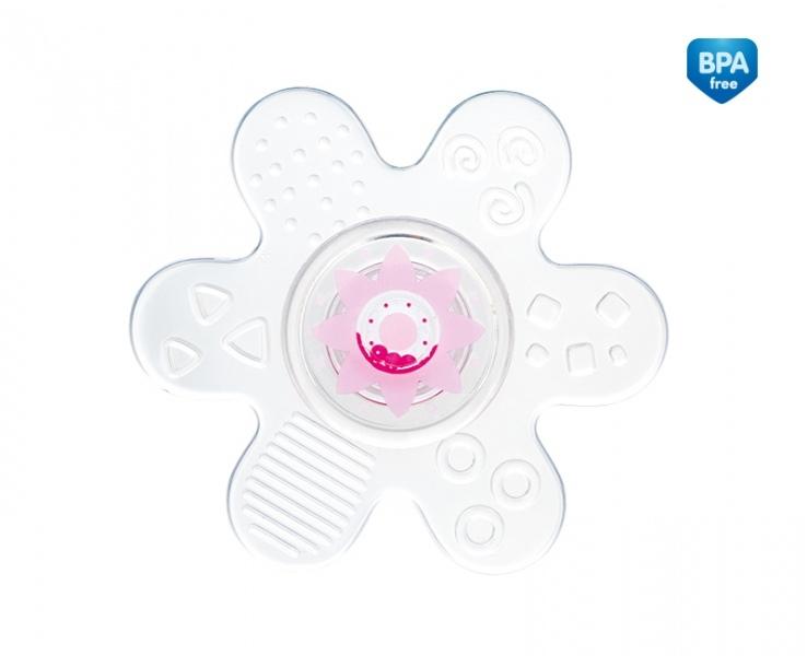 Canpol babies Kousátko silikonové s chrastítkem - Hvězdička - růžová