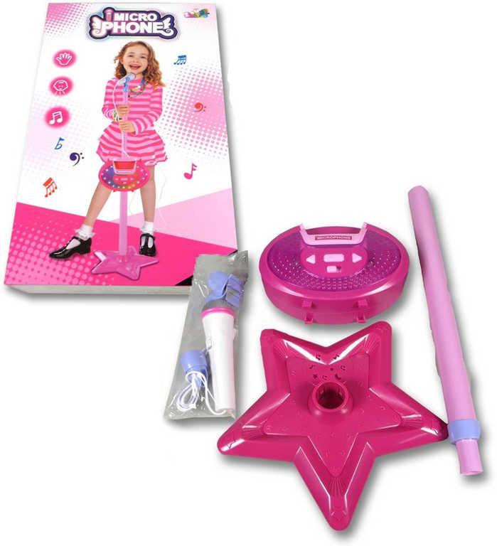 Mikrofon dětský plastový set se stojanem na baterie Světlo Zvuk plast 2 barvy