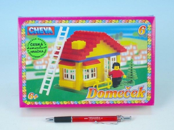 Stavebnice Cheva 6 Domeček plast 86ks v krabici 22,5x15x5cm