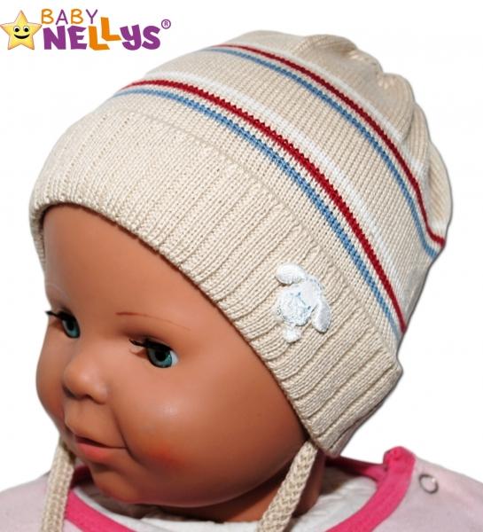 Čepička Proužek Baby Nellys ® na zavazování - béžová - 38/40 čepičky obvod