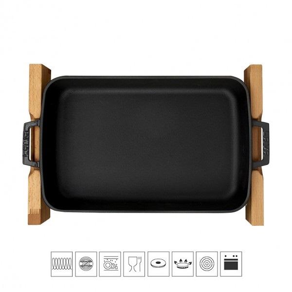 Litinový pekáč 22x30cm s dřevěným podstavcem - černý