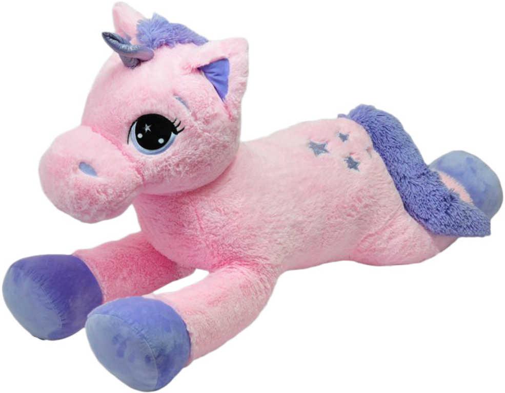PLYŠ Koník jednorožec růžovo-fialový velký 120 cm