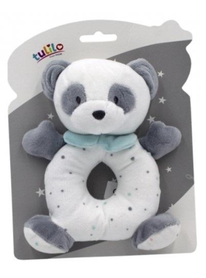 Tulilo Plyšová hračka s chrastítkem Medvídek Panda, 18 cm - mátový