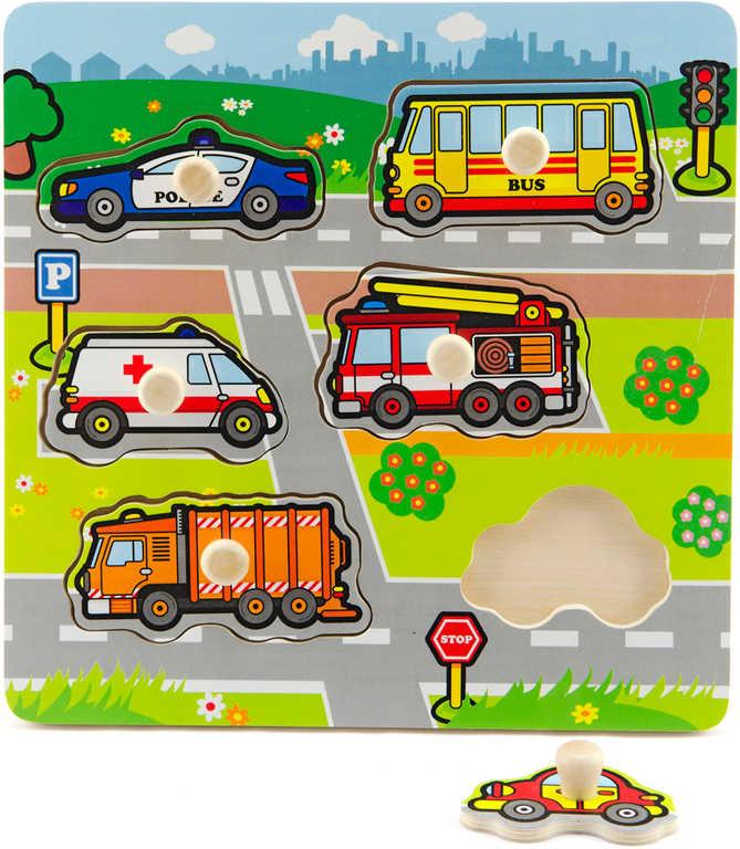 DŘEVO Baby vkládačka Moje první auta vkládací puzzle velké dílky pro miminko