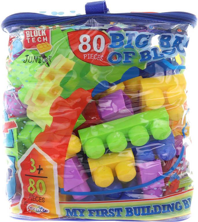 Stavebnice XL kostky barevné velké set 80ks v tašce na zip plast
