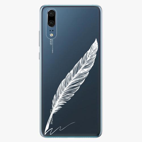 Silikonové pouzdro iSaprio - Writing By Feather - white - Huawei P20