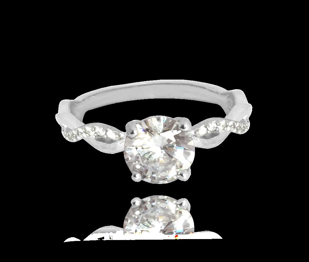 Romantický stříbrný prsten MINET s bílými zirkony vel. 50