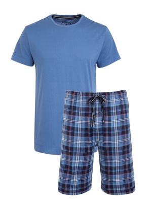 Pánské pyžamo 500001 - Jockey - Modrý-kostka/XXL