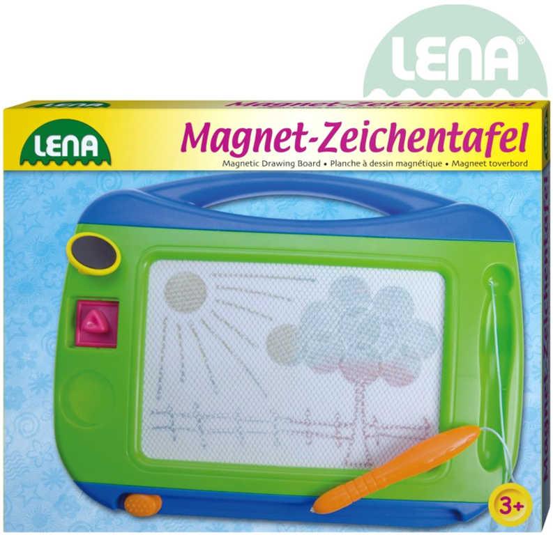 LENA Tabulka magnetická barevná 32x25x3cm set s tužkou a 2 razítky