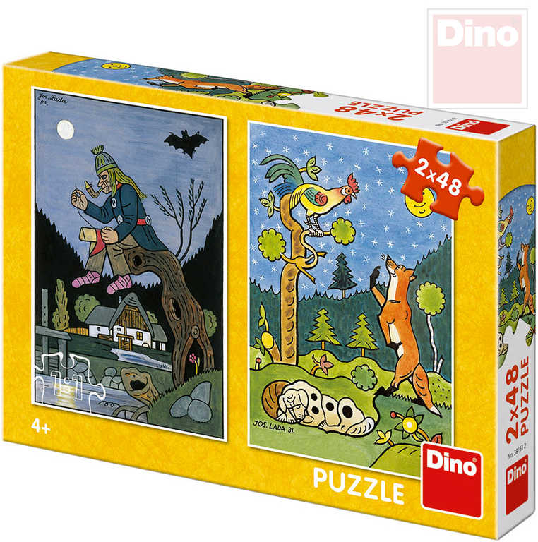 DINO Puzzle 2x48 dílků Josef Lada Pohádky 18x26,5cm skládačka 2v1