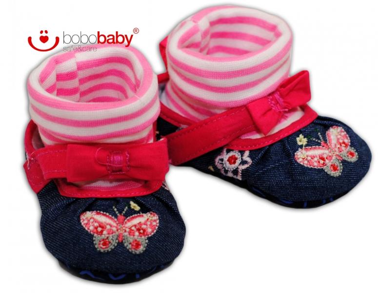 Balerínky capačky/botičky BOBO BABY - jeans/růžové - 3/6měsíců